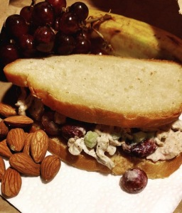 vegan chicken salad with garam masala and roasted grapes