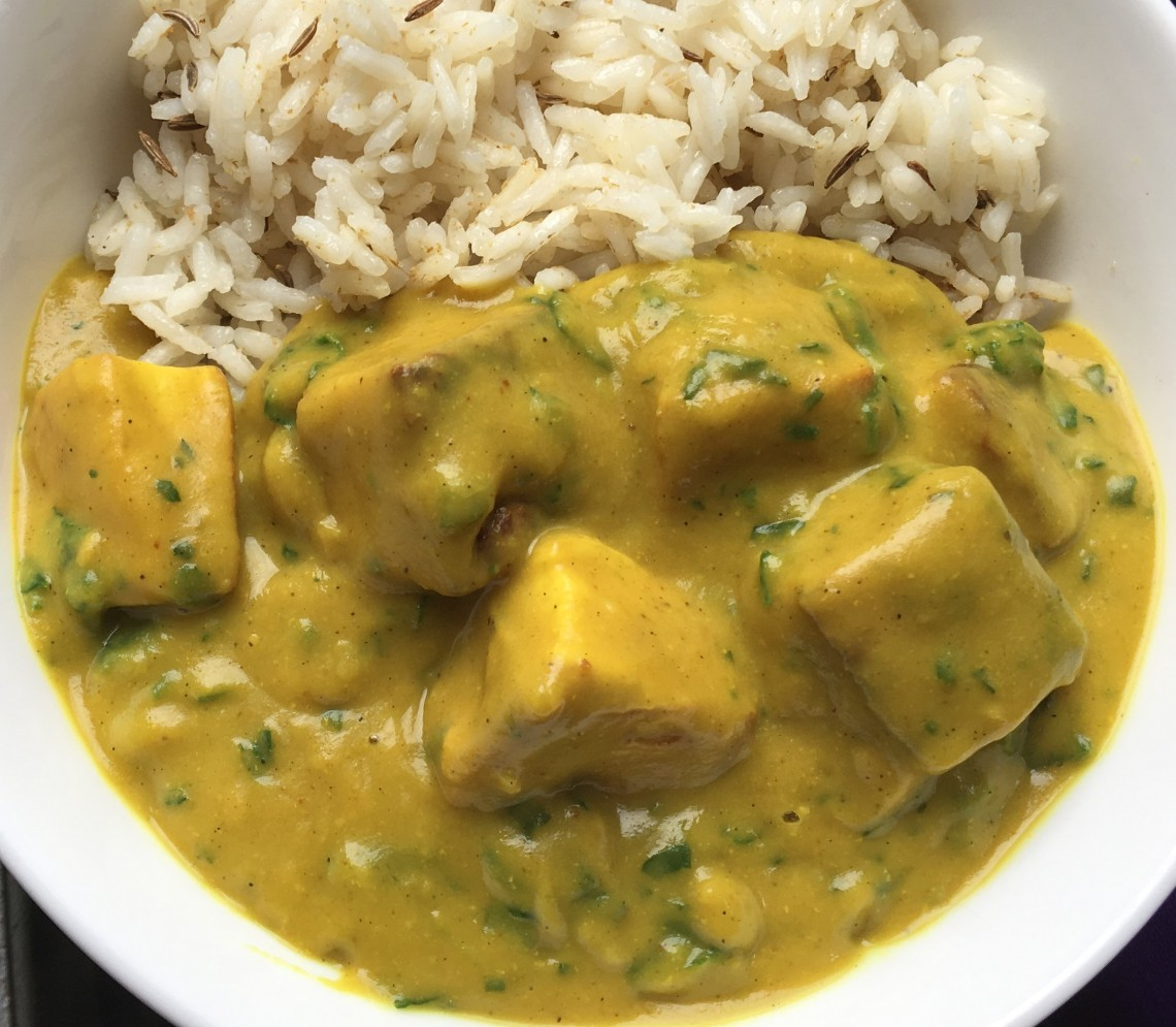 vegan lasooni palak tofu garlic and spinach curry